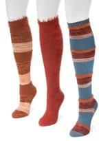 Muk Luks Fuzzy Yarn Knee High Socks - Pack of 3