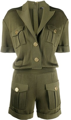 Balmain Peak Lapel Knitted Playsuit