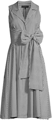Donna Karan Gingham Sleeveless A-Line Shirtdress