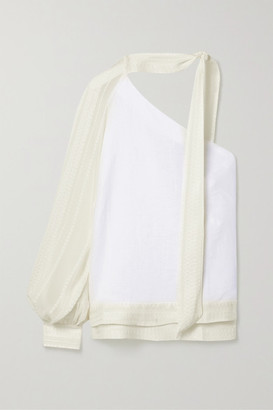 ZEUS + DIONE Arete One-sleeve Tie-neck Embroidered Linen And Silk-blend Crepon Top - Ivory