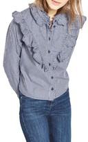 Topshop Women's Moto Ruffle Gingham Shirt