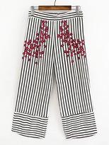 Shein Vertical Striped Flower Print Wide Leg Pants