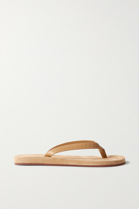 Loro Piana My Lp Topstitched Leather-trimmed Suede Flip Flops - Beige