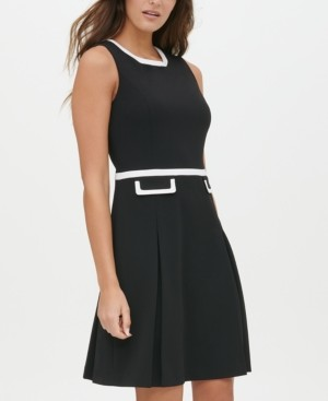 Tommy Hilfiger Scuba Crepe Contrast Trim Fit & Flare Dress