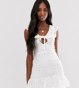 Parisian Tall tie front broderie anglaise mini dress