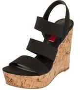 Dorothy Perkins Womens *London Rebel Black Elastic Strap Wedge Sandals- Black