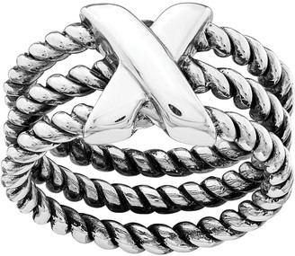 Sterling Silver X Rope Textured Ring