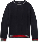 Lanvin - Slim-fit Stripe-trimmed Baby Alpaca And Merino Wool-blend Sweater