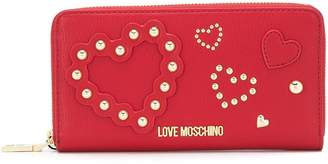 Love Moschino studded hearts continental wallet