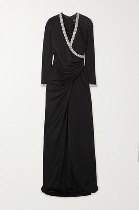 HANEY Tatum Ruched Wrap-effect Crystal-embellished Crepe Gown - Black