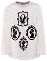 Dolce & Gabbana White Jacquard Sweater with Black Patent Lazer Cut Silhouette