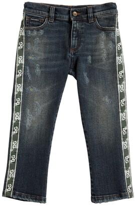 Dolce & Gabbana Stretch Cotton Denim Jeans W/ Logo Bands