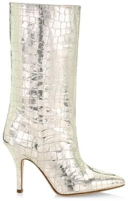 Paris Texas Metallic Croc-Embossed Leather Mid-Calf Boots