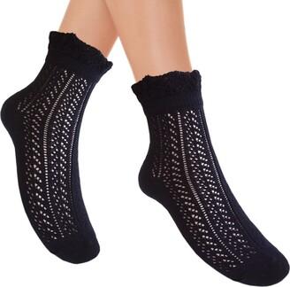 Joy Workshop Women's Cotton Pointelle Socks Frill Top 5Colours - Multicolour -
