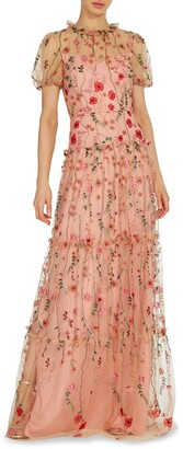 ML Monique Lhuillier Floral Embroidered A-Line Gown