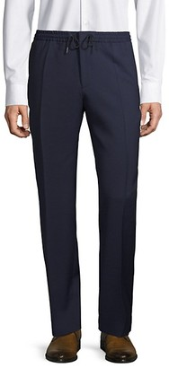 HUGO BOSS Virgin-Wool Blend Check Flat-Front Pants