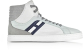 Hogan R141 White Nylon and Leather High Top Sneakers