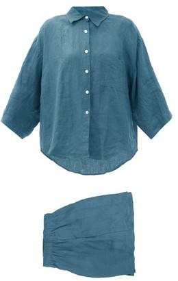 Deiji Studios 03 Short Linen Pyjamas - Blue