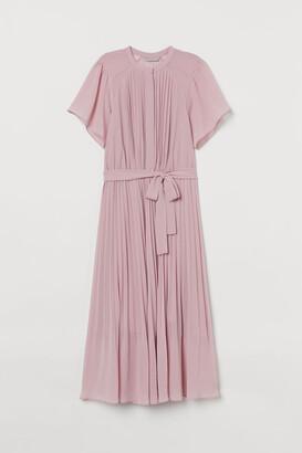 H&M Pleated Chiffon Dress - Pink