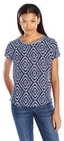 Jolt Women's Knit to Woven Printed Top