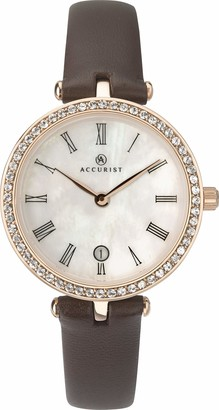 Accurist Womens Analogue Classic Quartz Watch with Leather Strap 8227