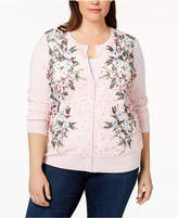Charter Club Plus Size Floral-Print Lace Cardigan, Created for Macy's