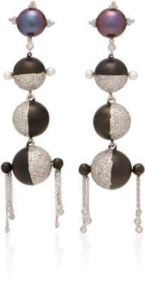 Lauren X Khoo Sphere 18K White Gold, Diamond and Pearl Earrings