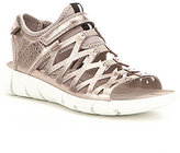Ecco Women 's Intrinsic 2 Metallic Leather Criss Cross Pattern Sandals