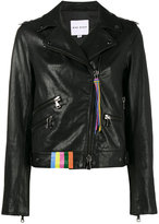 Mira Mikati racoon biker leather jacket