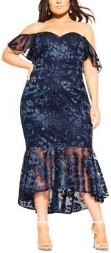 City Chic Trendy Plus Size Lace Aflutter Dress
