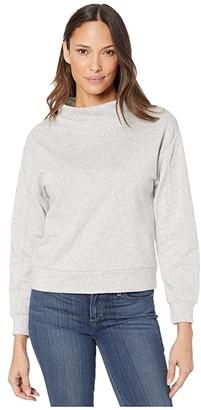 Alternative Mock Turtleneck Pullover in Cotton Modal Fleece (Heather Grey) Women's Clothing