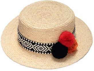 Straw Boater Hat With Pompoms