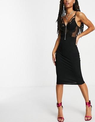 Flounce London basic midaxi skirt in black