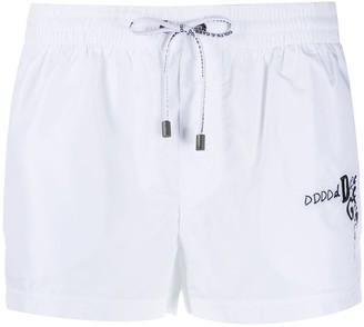 Dolce & Gabbana logo-embroidered swim shorts