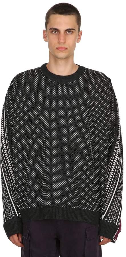 Y/Project Norwegian Paneled Wool Knit Sweater