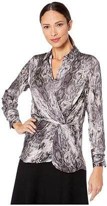 Vince Camuto Long Sleeve Peplum Twist Snakeskin Blouse (Rich Black) Women's Blouse