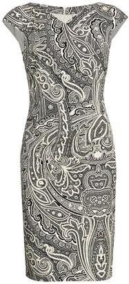 Max Mara Vosci Paisley Cap Sleeve Stretch Sheath Dress
