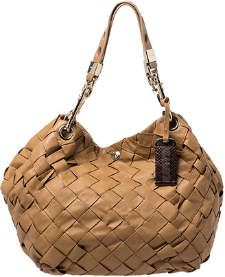 Jimmy Choo Brown Woven Leather Hobo