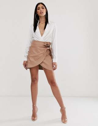 Parallel Lines leather look wrap front mini skirt with bow detail in tan-Brown