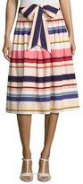Kate Spade Berber Striped Stretch Poplin Midi Skirt, Multicolor