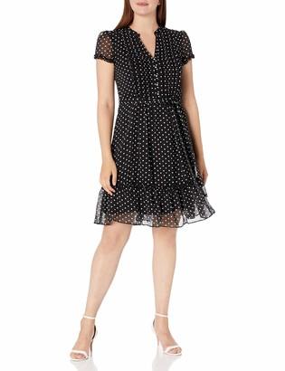 MSK Women's Polka Dot Woven Pintuck Shirtdress