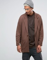 Asos Oversized Jersey Duster Jacket In Brown