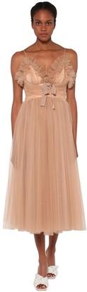 BROGNANO Glitter Ruffled Tulle Midi Dress