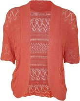 FashionMark Women's Plus Size Crochet Knitted Short Sleeve Cardigan (Teal)