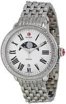 Michele Serein Matte Silver White Moon and Star Dial Diamond Stainless Steel Bracelet Ladies Watch