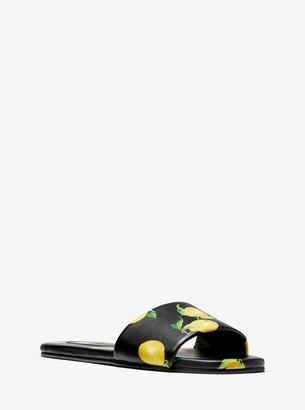 Michael Kors Delphine Lemon-Print Leather Slide Sandal