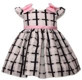 Bonnie Baby 2-Piece Windowpane Check Dress and Diaper Cover Set in Ivory/Pink