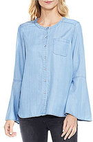 Vince Camuto Two by Bell Sleeve Collarless Shirt