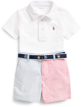 Ralph Lauren Kids Mesh Knit Short-Sleeve Polo w/ Patchwork Shorts & Logo Belt, Size 6-24 Months