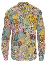 Bevilacqua David Geometric-leaf Print Cotton Shirt